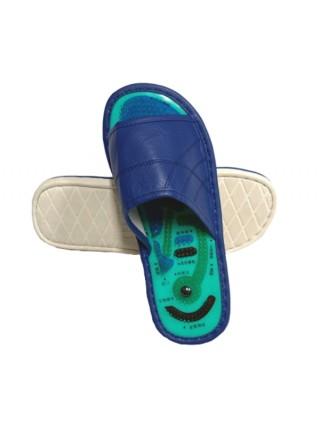 Тапочки мужские Шиацу, эко-кожа, синие